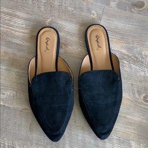 Black flat mules
